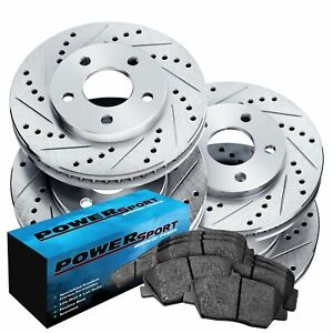 Brake Rotors front rear Kit Powersport drilled Slotted ceramic Pads Bz20016