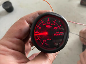 Glowshift 52mm Red Psi Turbo Boost Pressure Gauge Meter W Tinted Face