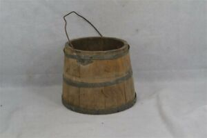 Old Early Wooden Bucket Pail Shaker Made Paint 10 In High 19th C Original 1800