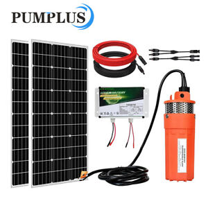 200w Mono Solar Panel 12v Deep Well S steel Submersible Water Pump battery