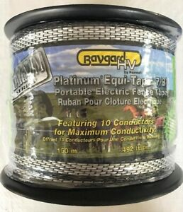 Baygard Platinum Electric Fence Equi tape 7 8 w X 150 M 492 Ft 10 Alum Wires