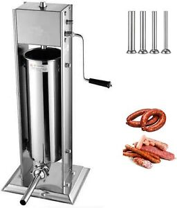 7 L Manual Sausage Stuffer Stainless Steel Vertical Sausage Maker With 4 Tubes