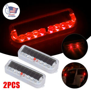 2x Solar Power Led Car Fake Alarm Warning Security Anti Theft Flashing Light Red