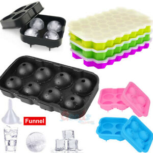 Black Round Silicon Ice Cube Ball Maker Tray 8 Large Sphere Molds Bar W Funnel