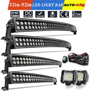 52 50 42 32 Inch Curved Led Light Bar Off Road Black Driving 4 Pods Car 4wd