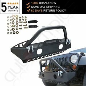 Aggressive Style Front Winch Bumper For Jeep Wrangler 07 18 Damage Resistance