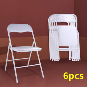 6 Pack Commercial Plastic Folding Chairs Stackable Wedding Party Event Chair