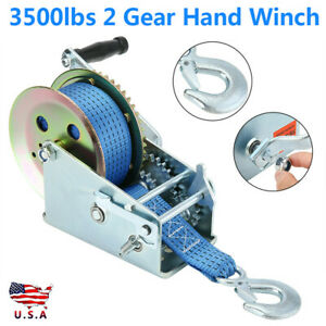 3500lbs Polyester Strap 2 Gear Hand Winch Manual Crank For Atv Boat Trailer