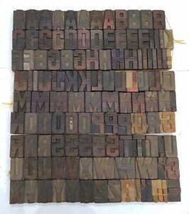 Vintage Letterpress Wood wooden Printing Type Block Typography 124pc 1 96 tp36