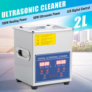 New 2l Ultrasonic Cleaner 304 Stainless Steel Industry Heated Heater W timer
