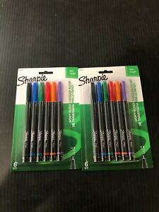 Sharpie Pens 0 8 Fine Point Assorted Colors 6 Count Pack Of 2 Total 12