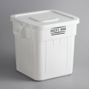 Baker s Mark 32 Gallon 510 Cup White Flat Top Ingredient Storage Bin With Lid