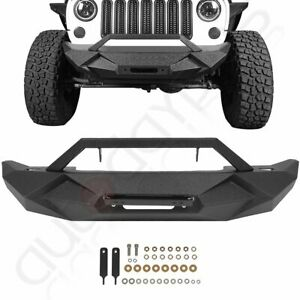 Aggressive Textured Front Bumper With Winch Plate For Jeep Wrangler Jk 2007 2018