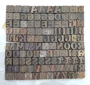 Vintage Letterpress Wood wooden Printing Type Block Typography 117 Pc 27mm tp 54