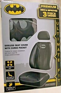 Dc Comics Batman Embroidered Premium Sideless Seat Cover With Cargo Pocket 3 Pcs