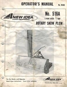 New Idea 516a 3pt Hitch Snow Blower Operator s Manual