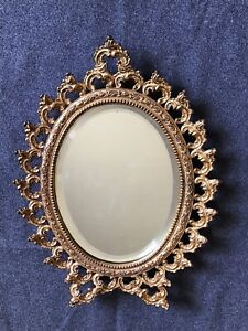 Victorian Cast Iron Gold Tinted Frame With Bevelled Glass Mirror