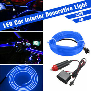 Blue Led Auto Car Interior Decor Atmosphere Wire Strip Light Lamp Accessories Us