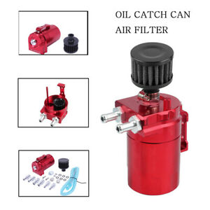 New Red Oil Catch Can Tank Reservoir Breather Cylinder Aluminum Engine W Filter