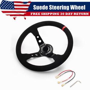 Universal 14 Red Suede Leather Stitch Deep Dish Sport Racing Car Steering Wheel