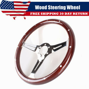 15 Inch 3 Spoke Slotted Steering Wheel Riveted Wood Grip 6 Hole Chevy Ford Gmc