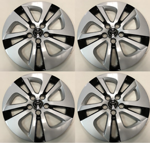 Set Of 4 Wheel Cover Hubcaps Fit 2016 2017 2018 Toyota Prius 15 Black Silver