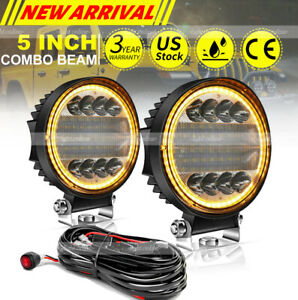 5inch Round Led Driving Lights Bar Flood Work Pods Bumper Off Road 4wd 4 Wire