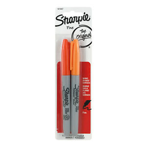 Sharpie Permanent Markers Fine Point Orange And Tangerine 2 count