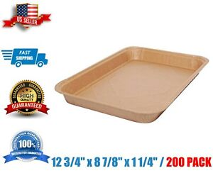 Paper Food Tray Eco 12 3 4 X 8 7 8 X 1 1 4 Disposable Kraft 200 case