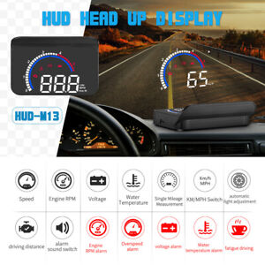 Obd2 Car Digital Hud Head Up Display Speedometer Mph Km Speed Water Temp Fuel