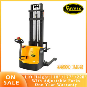Apollolift Full Electric Power Drive Lift Straddle Stacker 3300lb 118 177 220