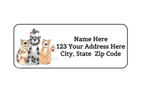 30 Cats Cat Personalized Return Address Labels 1 In X 2 625 In