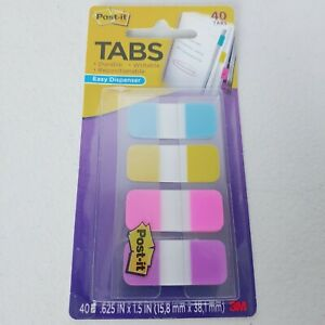 Post it Tabs In Blue Yellow Pink Violet Durable Writable 40 Tabs