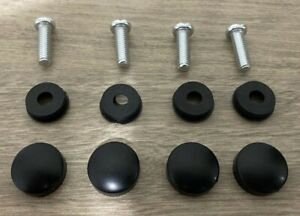 4 Black Fasteners Set Caps License Plate Tag Frame Auto Car Truck Screw Covers