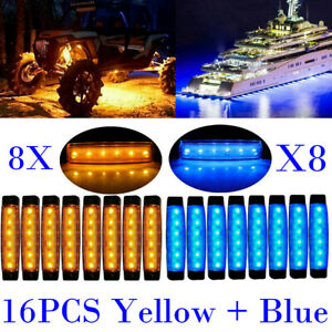 16x Blue Amber Led Side Marker Lights For Car Truck Trailer 3 8 Clearance Light