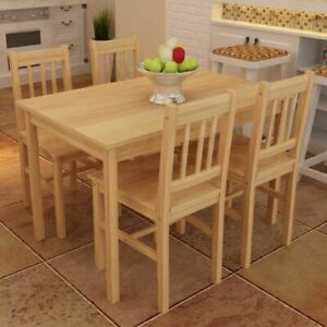 Set Of 5 Kitchen Dining Pine Wood Breakfast Furniture Table And 4 Chairs Natural