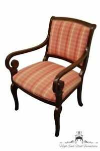 Hickory Chair Co Italian Provincial Plaid Striped Upholstered Accent Arm C