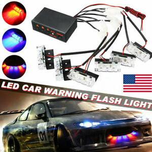 Car 18 Led Red blue Police Strobe Flash Light Dash Emergency Warning Lamp 6 In 1