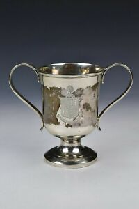 Georgian English Sterling Silver Armorial Loving Cup 1802