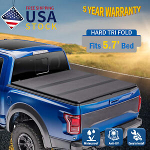 Hard Tri Fold For 2009 2019 Dodge Ram 1500 Express 5 7ft Tonneau Cover Truck Bed