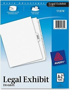 Avery Advantages Unpunched Legal Exhibit Dividers A z Tabs