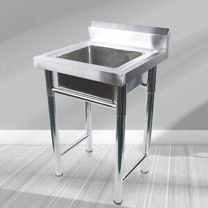 201 Stainless Steel Laundry Tub Floor Mount Utility Room Sink Wash Bowl Basin