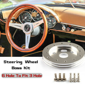 Aluminum 0 5 hub Kit For 6 Hole Steering Wheel To Grant 3 Hole Adapter Boss