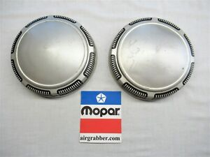Mopar Charger Satellite Road Runner Poverty Dog Dish Wheel Covers Hub Caps Pair