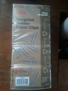 Acco Recycled Jumbo Clips 8 Boxes 100 Clips box