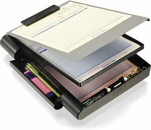 Officemate Recycled Double Storage Clipboard forms Holder Plastic Gray black