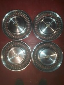 Set Of Four Vintage Cadillac Hubcaps 16 Inch