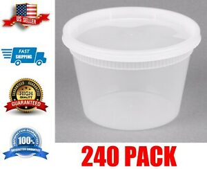 240 Case 16 Oz Deli Container Translucent Round Combo Pack Free Shipping