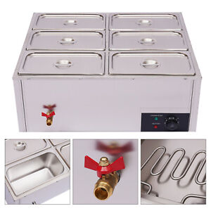 Commercial Food Warmer 6 pan Steamer S steel Buffet Electric Countertop Device