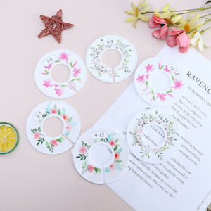 6pcs Flower Round Child Clothes Size Dividers Plastic Ring Size Label Suppmz